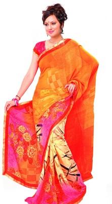 Fashion Fiasta Floral Print Fashion Synthetic Georgette Sari