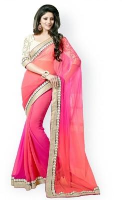 White World Self Design Fashion Georgette Sari
