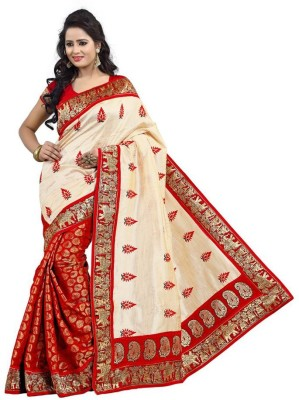 Aks Worldshop Printed Daily Wear Khadi Sari