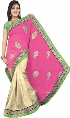 Panth Design Self Design Fashion Georgette, Brasso Sari