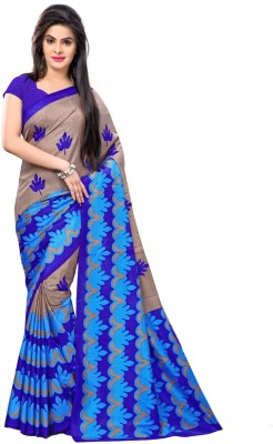 PerfectBlue Printed Bhagalpuri Cotton Sari