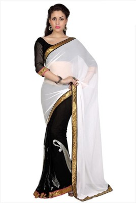 Cutie Pie Self Design Fashion Georgette Sari