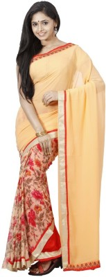 Fashion On Sky Floral Print Bollywood Chiffon Sari