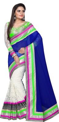 Kavya Enterprises Embriodered Rajkot Handloom Pure Georgette, Net, Brasso Sari