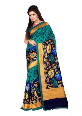 AJS Self Design, Floral Print, Printed Fashion Art Silk Sari