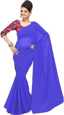 Dlines Plain Fashion Chiffon Sari
