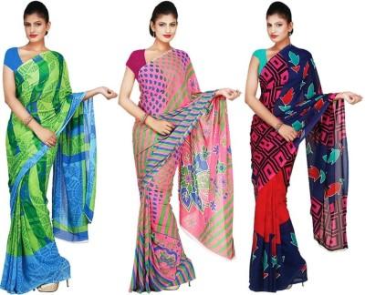 Sukuma Geometric Print, Floral Print, Printed Daily Wear Georgette Sari