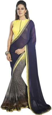 JasHiru Self Design Bollywood Georgette Sari