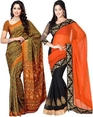 Fabdeal Floral Print, Embriodered Daily Wear Crepe, Georgette Sari