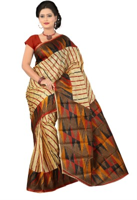 Moon Sarees Striped, Printed Ikkat Handloom Art Silk Sari