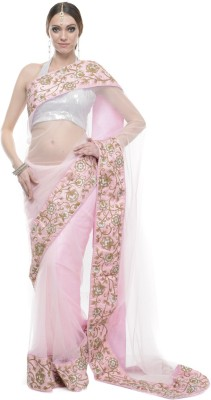 Aarohii Self Design, Solid Bollywood Net Sari