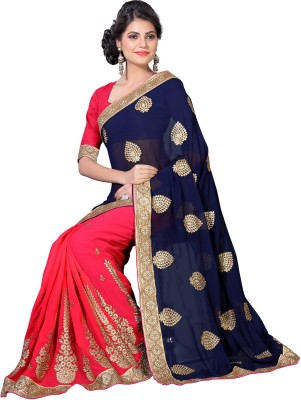 Oomph! Embroidered Fashion Georgette Sari(Multicolor)