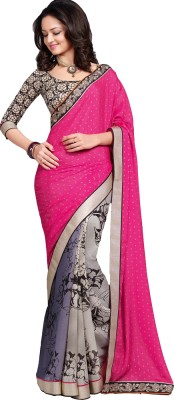 Fashion On Sky Self Design Fashion Satin, Chiffon Sari