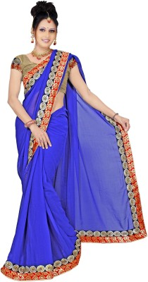 Kushbo Self Design, Solid Bollywood Georgette Sari