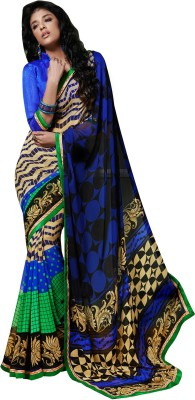 The Ethnic Chic Printed Fashion Georgette Sari