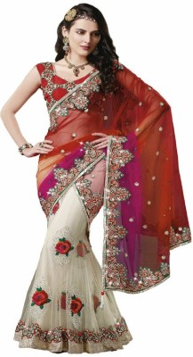 Vidya Fashion Embroidered Fashion Net Saree(Red) at flipkart