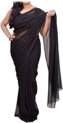 Barbarik Plain Bollywood Georgette Sari