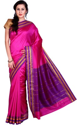 Parchayee Solid Mysore Art Silk Saree(Pink) at flipkart
