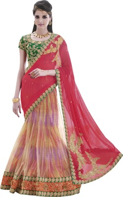 Mahotsav Self Design Fashion Chiffon Saree(Pack of 2, Beige) at flipkart