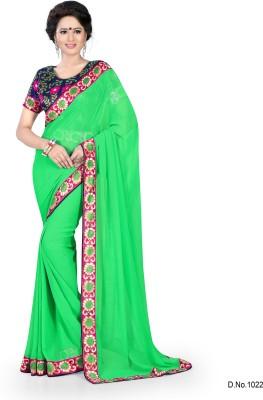 Indianbeauty Solid Bollywood Chiffon Sari