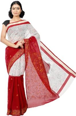 Crochetin Self Design Tangail Handloom Cotton Sari