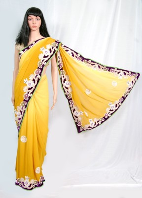 Btraibagi! Embriodered Fashion Synthetic Fabric Sari