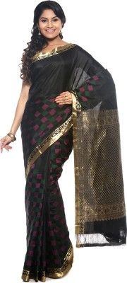 BlackBeauty Woven Kanjivaram Handloom Pure Silk Saree(Black) at flipkart