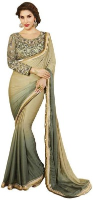Kmozi Embriodered Fashion Jacquard, Georgette Sari