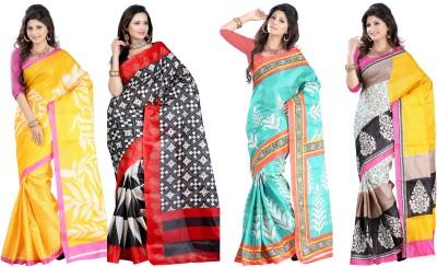 King Villa Printed Bhagalpuri Cotton Linen Blend Sari
