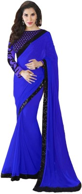 shart Plain Bollywood Georgette Sari