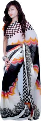 Aifaa Graphic Print Fashion Synthetic Chiffon Sari