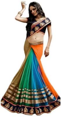 Lolla Fashion Striped, Embriodered Bollywood Georgette, Net Sari