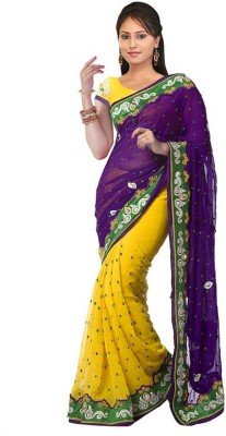 Neelu Design Embriodered Bollywood Handloom Chiffon Sari