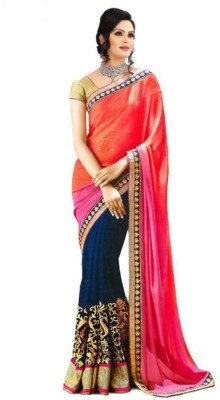 BlueGene Embriodered Bollywood Chiffon Sari