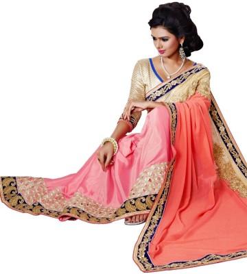 Sundari Fashion Embriodered Fashion Georgette, Satin Sari