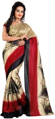 Mann Graphic Print Fashion Printed Silk Sari