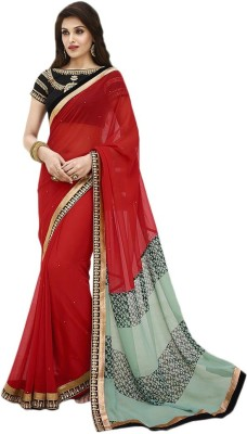 Manish Creation Embellished, Self Design Bollywood Georgette, Raw Silk Sari