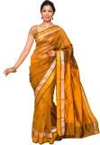 Pavechas Solid Banarasi Silk Saree (Gold...
