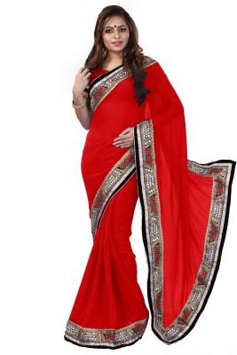 Greenvilla Designs Plain Fashion Handloom Silk Sari