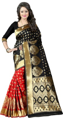 shoppershopee Woven Kanjivaram Banarasi Silk Saree(Multicolor) at flipkart