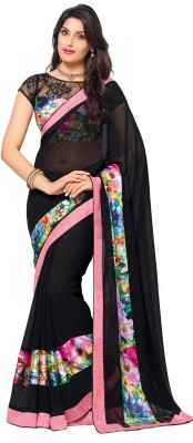 Palav Fabrics Embellished, Embroidered, Solid, Printed, Floral Print Fashion Georgette Saree(Black) at flipkart