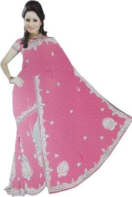 M.S.Center Embriodered Hand Batik Synthetic Sari