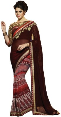 Imago Embriodered, Printed, Plain Fashion Pure Georgette, Georgette, Printed Silk Sari