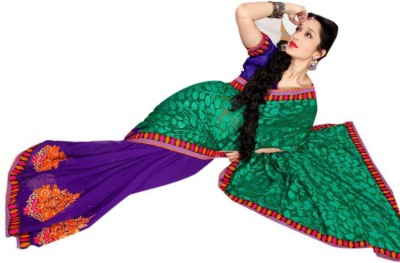 The Ethnic Chic Embriodered Fashion Brasso, Chiffon Sari