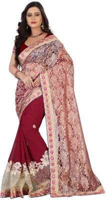 Sareeka Sarees Plain, Embriodered Fashion Net Sari