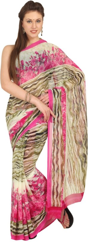 Aryahi Printed Daily Wear Synthetic Saree(Beige)