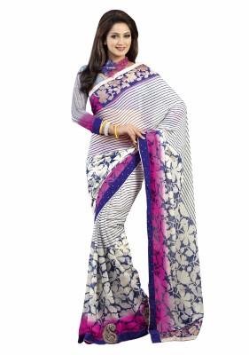Alira Striped, Floral Print Daily Wear Georgette Sari