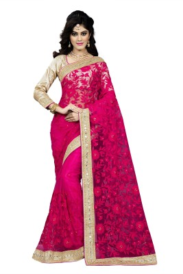 Aashvi Creation Embroidered, Self Design Bollywood Net Saree(Pink) at flipkart