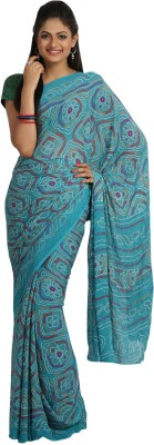 Jaipur Kurti Printed Bandhej Viscose Sari