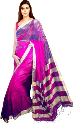 Tyra Sarees Striped Tant Handloom Cotton Sari